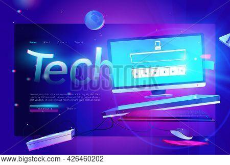 Tech Banner. Concept Of Modern Technologies, Digital Communication, Internet And Network System. Vec