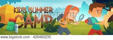 Kids Summer Camp Poster With Tent, Backpack And Thermos. Vector Banner With Cartoon Landscape With M