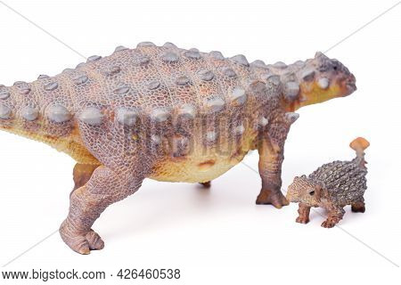 Ankylosaurus Is A Herbivore Genus Of Armored Dinosaur With Baby, The Dinosaur From The Very End Of T