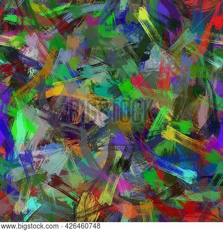 Seamless Random Faux Digital Paint Stroke Pattern Print