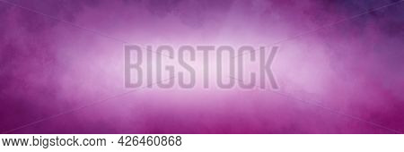 Violet Purple Background With White Center, Old Watercolor Grunge Texture On Borders, Elegant Purple