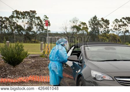 Barden Ridge, Australia - 2021-07-10 Medical Stuff Making Covid Test Swab At Covid-19 Drive Through
