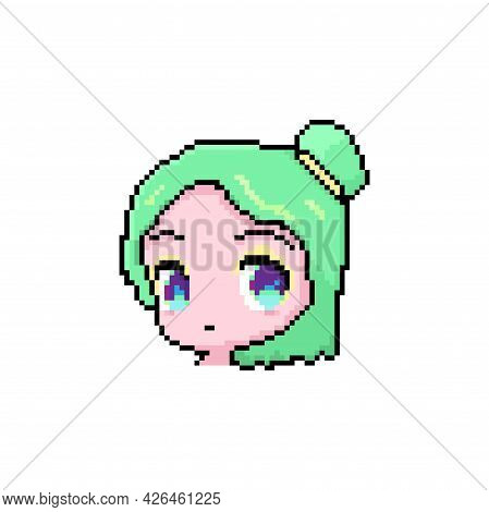 Pixel Anime Cute Face Girl, Young Character With Green Hair