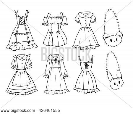 Set Of Black And White Hand-drawn Doodle Style Young Girl Dress Outfit