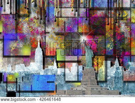 NYC. Manhattan painting. 3D rendering.