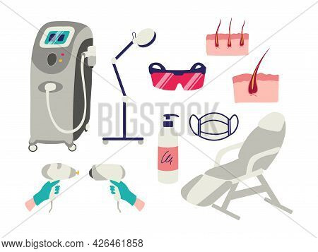 Laser Hair Removal Set Of Design Elements Isolated On White Background. Vector Illustration Of Equip