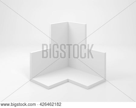 Abstract White Geometric Object In Shape Of Corner Of A Bounding Box For Products Presentations Stan