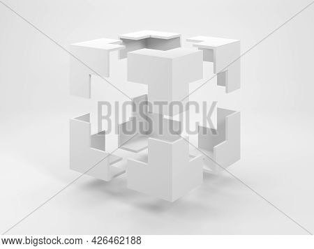 Abstract White Geometric Object, An Empty Bounding Box With Flying Corners Is A White Studio. 3d Ren