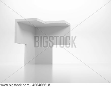 Abstract White Geometric Object In Shape Of Corner Of A Bounding Box Stands In A White Studio. 3d Re