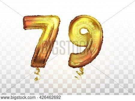 Vector Golden Foil Number 79 Seventy Nine Metallic Balloon. Party Decoration Golden Balloons. Annive