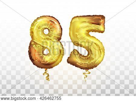 Vector Golden Foil Number 85 Eighty Five Metallic Balloon. Party Decoration Golden Balloons. Anniver