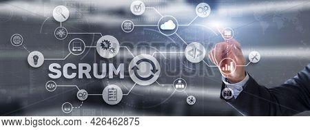 Scrum. Hand Presses The Inscription Scrum On A Virtual Panel. Agile Development Methodology