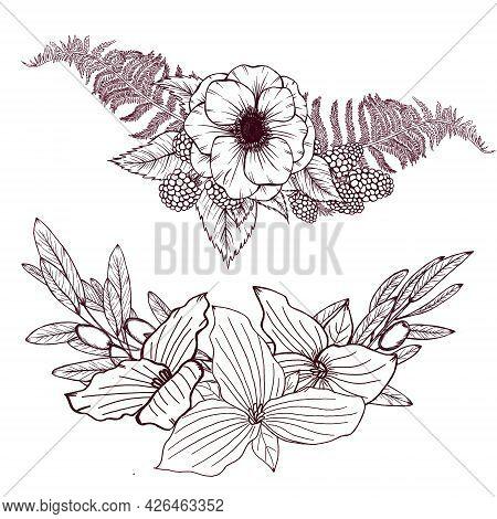 Anemone, Berries, Fern Bouquet, Trillium, Olive Branches Arrangement, Elegant Wild Flowers Bouquet,