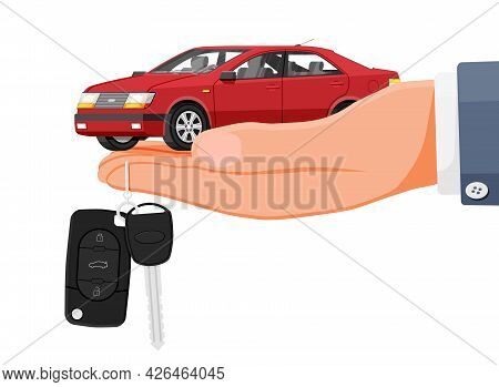 Passenger Car Side View. Sedan In Hand With Key. Modern City Car Isolated. Color Urban Vehicle. Auto