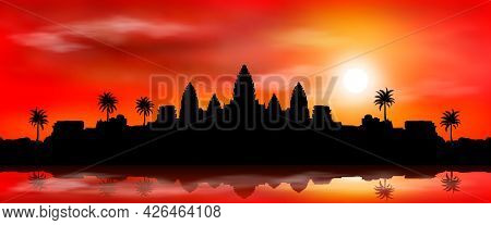 The Very Ancient City Of Angkor Wat At Sunset. Buddhist Temple Complex. Historical Landmark. Cambodi