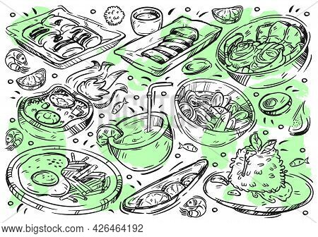 Hand Drawn Line Vector Illustration Food On White Board. Doodle Thai Cuisine: Meat Sua Rong Hai, Pad