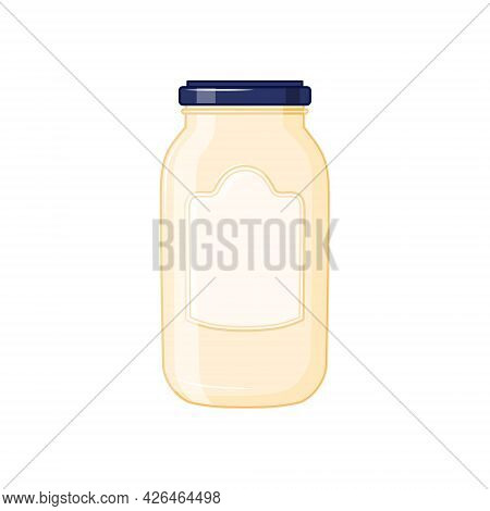 A Glass Jar With Mayonnaise On A White Background. Vector Illustration.