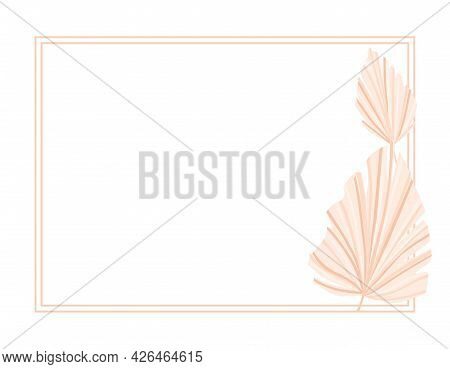 Frame Background With Dry Palm Leaves. Decor. Vector Illustration.