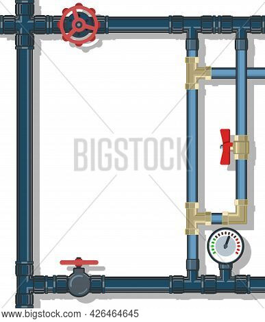 Water Fittings. Pipeline For Various Purposes. Frame With A Place For The Text About The Service. Pr