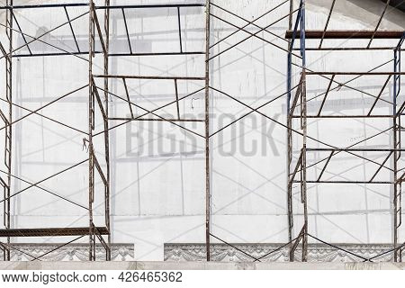 Steel Scaffolding Outside The Building Under Construction
