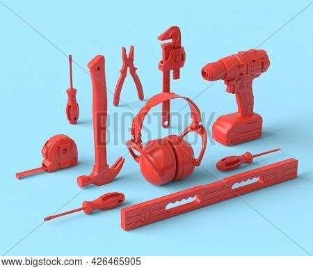 Isometric View Of Monochrome Construction Tools For Repair And Installation On Blue And Redbackgroun
