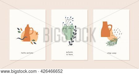 Set Of Autumn Mood Abstract Greeting Card Templates With Vases, Plants, Leaf, Berries And Geometric