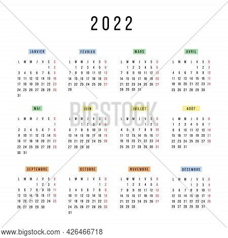 French Calendar 2022 Year. Vector Stationery Square Calendar Week Starts Monday. Yearly Organizer. S