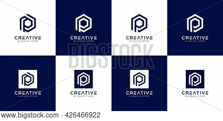 Set Of Initial Letter P Logo Design Vector
