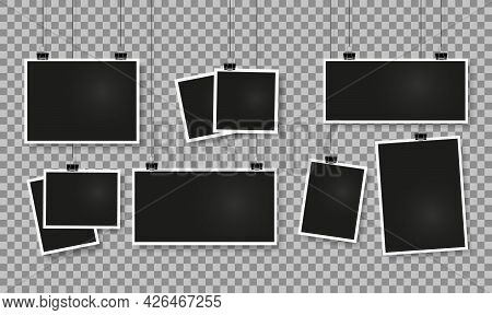 Photo Frames On Clips. Realistic Blank Picture Frame Hanging On Paper Clip. Vintage Photos Template