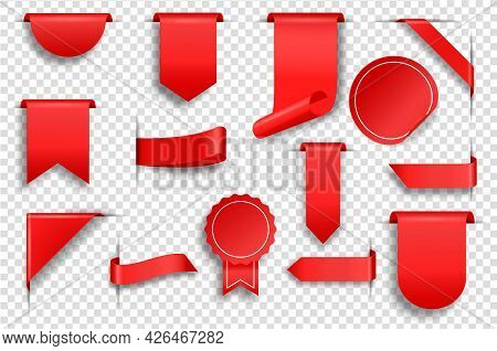 Empty Red Tags. Realistic Price Labels, Ribbons And Corners. Promo Sale Badge, Discount Label, Blank