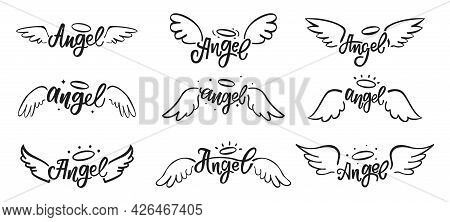 Hand Drawn Angel Wings Doodles. Holy Angelic Wing Feathers Tattoo With Lettering. Magical Bird Wings