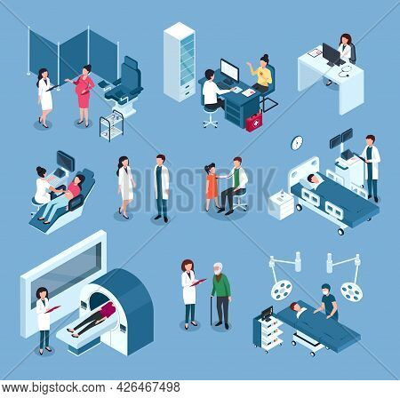 Isometric Hospital Workers. Doctors, Surgeons With Medical Equipment. Doctor Examining Patient. Heal