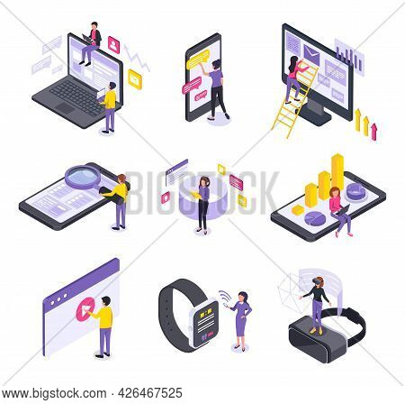 People And Interfaces Isometric Icons Collection With Isolated Conceptual Icons Electronic Gadgets H
