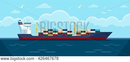 Cargo Ship In Ocean. Commercial Freight Vessel With Containers In Sea. Maritime Commerce Delivery, S