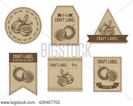 Craft Labels Vintage Design With Illustration Of Passion Fruit Stock Illustration
