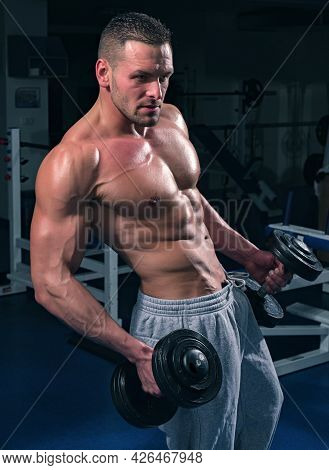 Bodybuilding Exercises. Training. Dumbbells Workouts. Male Torso With Six Packs. Sportsman With Nake