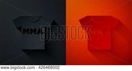 Paper Cut T-shirt With Fight Club Mma Icon Isolated On Black And Red Background. Mixed Martial Arts.
