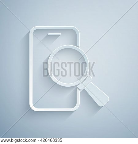 Paper Cut Phone Repair Service Icon Isolated On Grey Background. Adjusting, Service, Setting, Mainte