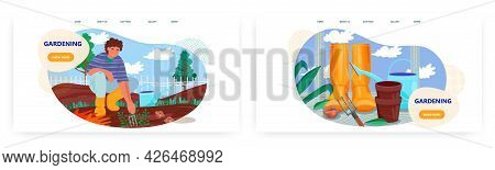 Gardening Landing Page Design, Website Banner Vector Template Set. Gardener Planting Seedlings In Ga