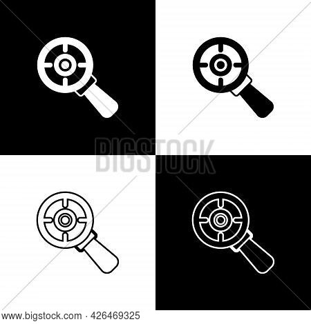 Set Target Financial Goal Concept With Magnifying Glass Icon Isolated On Black And White Background.