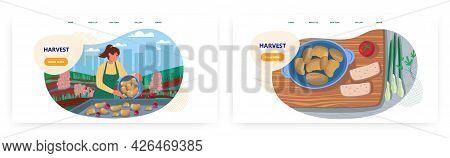 Harvest Landing Page Design, Website Banner Vector Template Set. Farmer Harvesting Potato. Agricultu