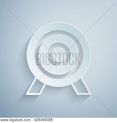 Paper Cut Target Financial Goal Concept Icon Isolated On Grey Background. Symbolic Goals Achievement