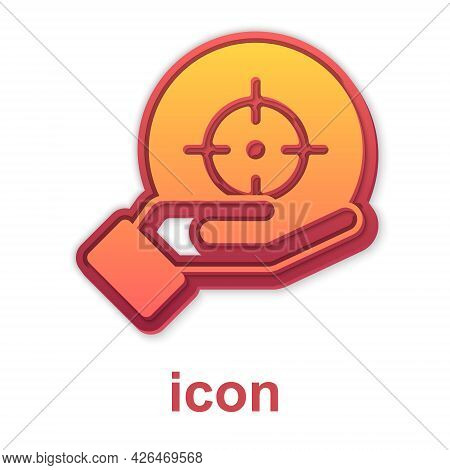 Gold Target Financial Goal Concept Icon Isolated On White Background. Symbolic Goals Achievement, Su