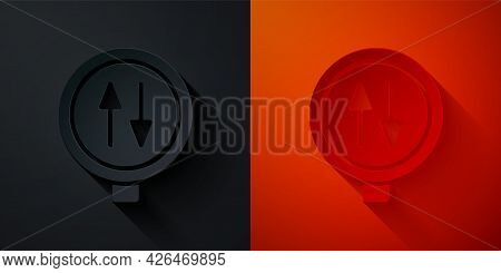 Paper Cut Road Sign Warning Two Way Traffic Icon Isolated On Black And Red Background. Paper Art Sty