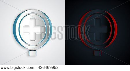 Paper Cut Hospital Road Traffic Icon Isolated On Grey And Black Background. Traffic Rules And Safe D