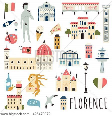Set Of Famous Symbols And Landmarks Of Florence Vector Bright Set Of Icons