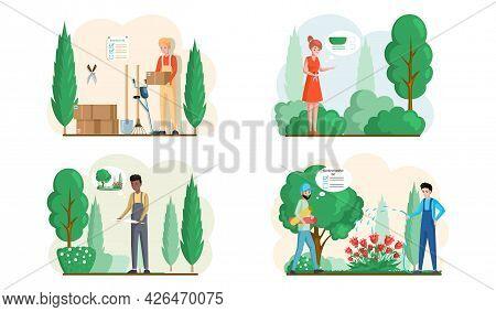 Spring Gardening With Characters Of Gardeners Working In Outdoor Garden Scenes Set With People Growi