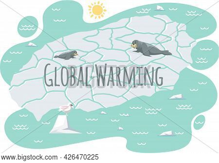 Placards And Posters Design Of Global Warming And Climate Change. Inscription Global Warming. Walrus