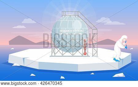 Research Polar Station Of Global Warming In Antarctica Winter Landscape With Male Explorer. Man Stan