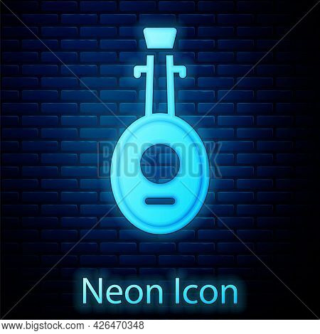 Glowing Neon Musical Instrument Lute Icon Isolated On Brick Wall Background. Arabic, Oriental, Greek